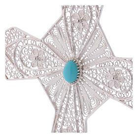 Krzyż biskupi turkus srebro 800 filigran s2