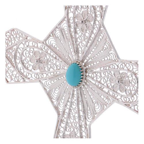 Krzyż biskupi turkus srebro 800 filigran 2