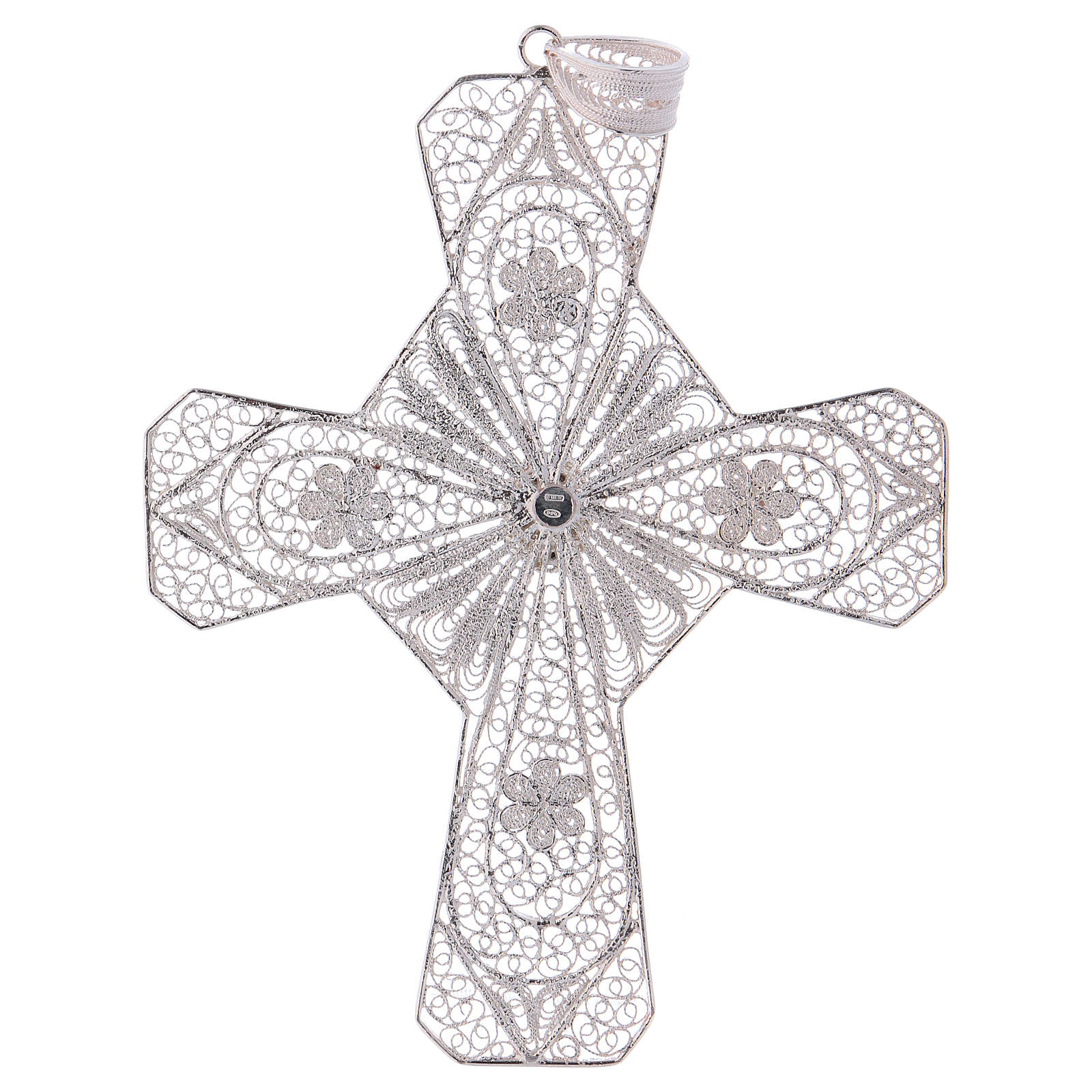 Cruz bispo turquesa prata 800 filigrana 3