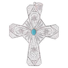 Cruz bispo turquesa prata 800 filigrana s1