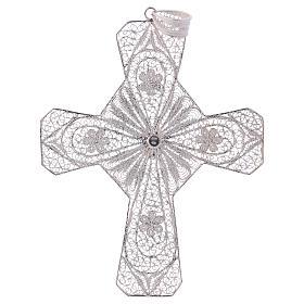 Cruz bispo turquesa prata 800 filigrana s3