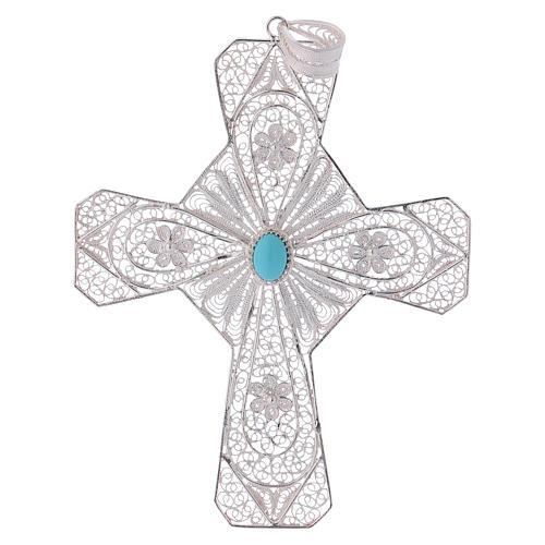 Cruz bispo turquesa prata 800 filigrana 1