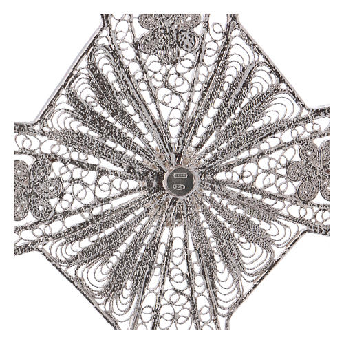 Cruz bispo turquesa prata 800 filigrana 4