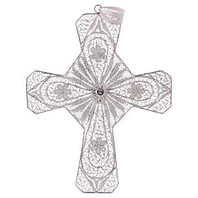Pectoral Cross in silver 800 filigree with Turquoise stone s3