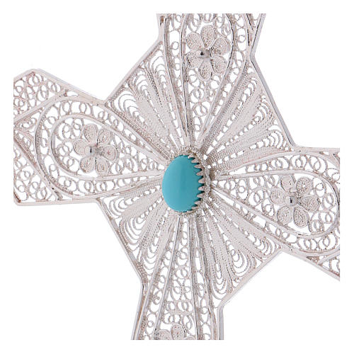 Pectoral Cross in silver 800 filigree with Turquoise stone 2