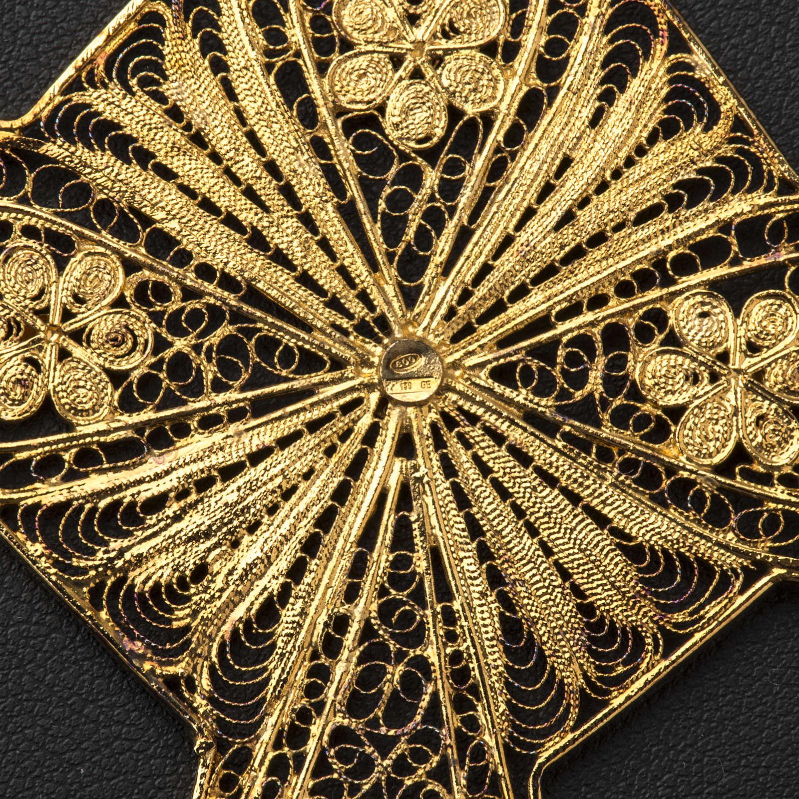Croix épiscopale filigrane d'argent 800 doré 3