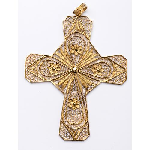 Croix épiscopale filigrane d'argent 800 doré 1
