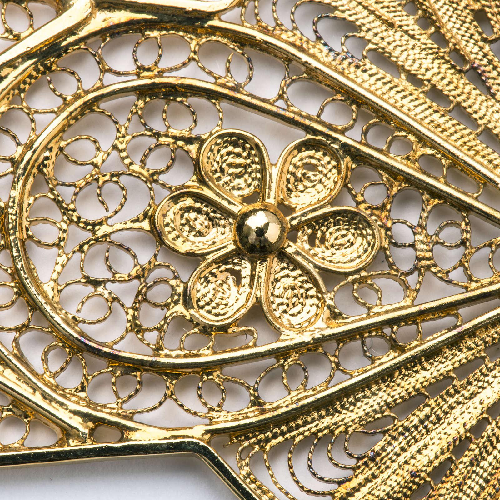 Croce vescovile argento 800 filigrana dorata 3