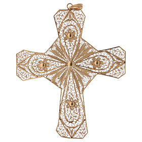Croce vescovile argento 800 filigrana dorata s1