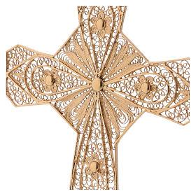Croce vescovile argento 800 filigrana dorata s2