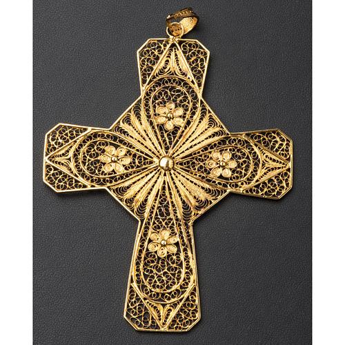 Croce vescovile argento 800 filigrana dorata 5