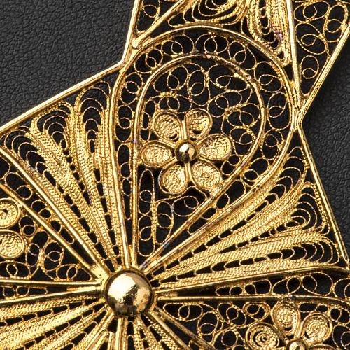 Croce vescovile argento 800 filigrana dorata 6