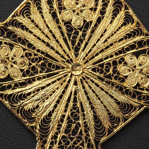 Croce vescovile argento 800 filigrana dorata 7