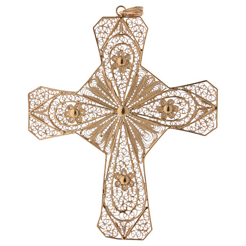 Croce vescovile argento 800 filigrana dorata 1