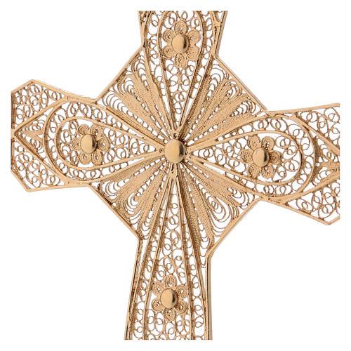 Croce vescovile argento 800 filigrana dorata 2