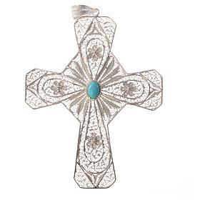 Croce vescovile argento 800 filigrana corniola s4