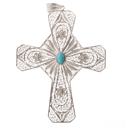 Ecclesiastical cross in 800 silver filigree with carnelian stone 4