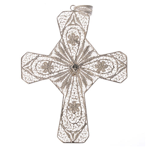Ecclesiastical cross in 800 silver filigree with carnelian stone 5