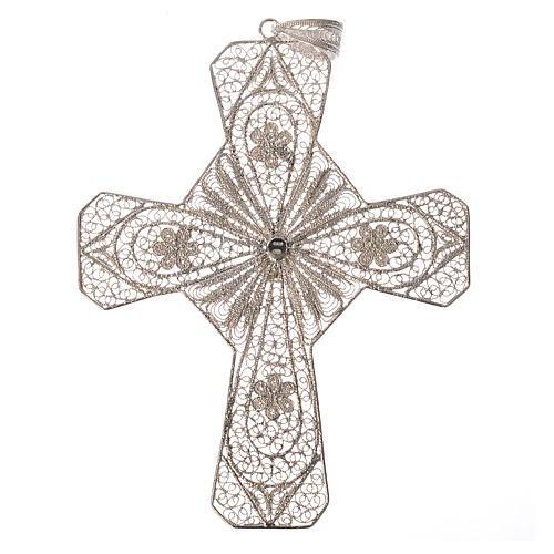 Ecclesiastical cross in 800 silver filigree with carnelian stone 2