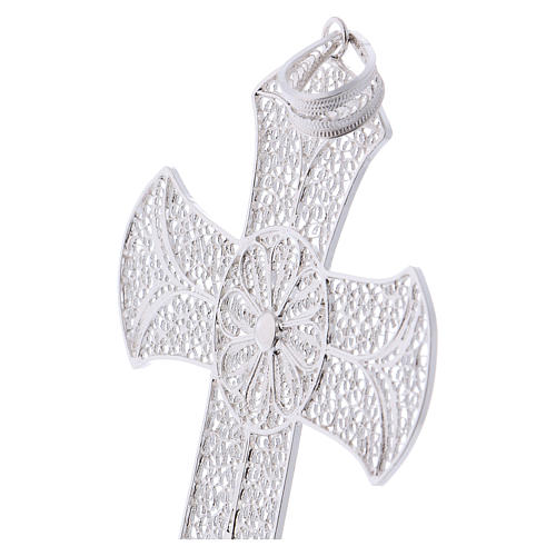 Pectoral cross in silver 800 with decorated filigree 2