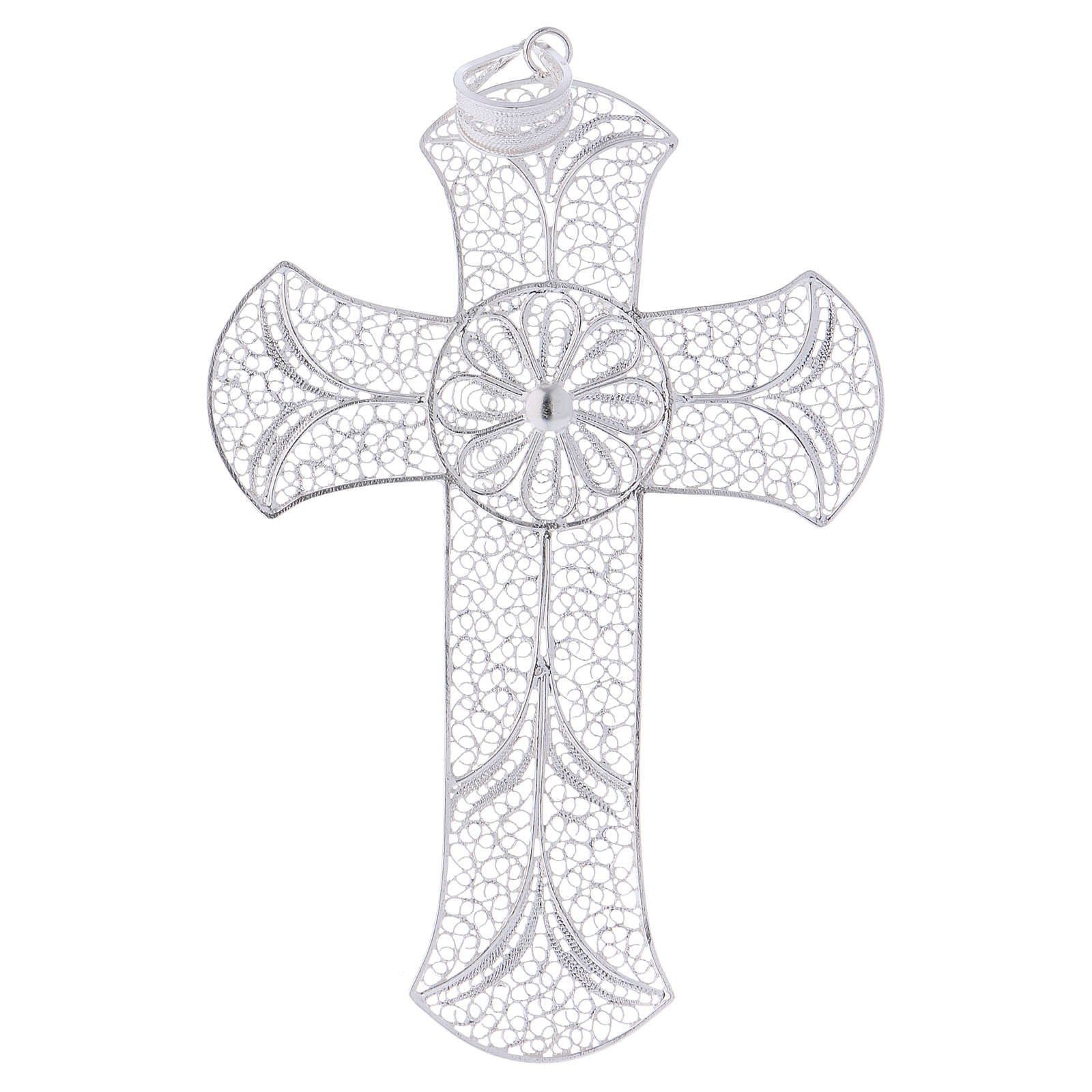 Cruz pectoral de plata 800 diseño de filigrana 3