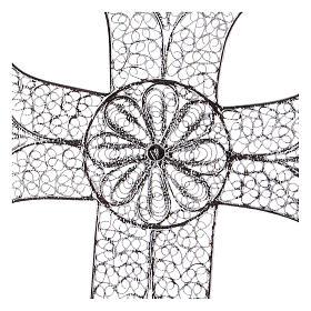 Cruz pectoral de plata 800 diseño de filigrana s4