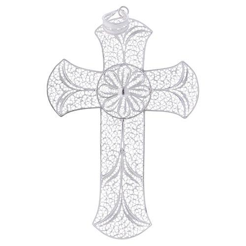 Cruz pectoral de plata 800 diseño de filigrana 1