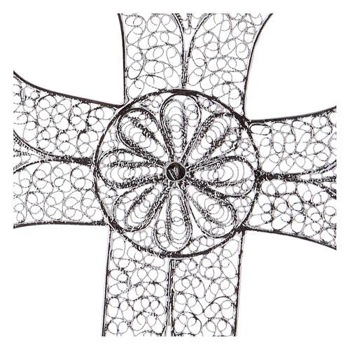 Cruz pectoral de plata 800 diseño de filigrana 4