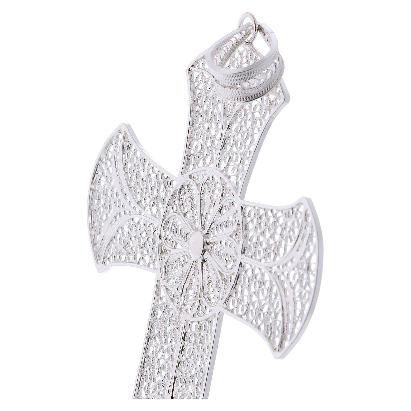 Pectoral cross in silver 800 with decorated filigree 3