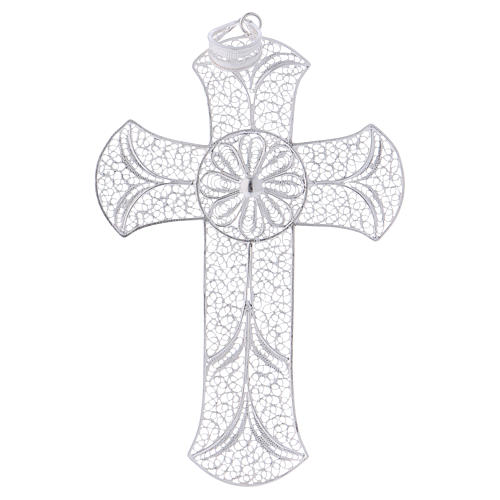 Pectoral cross in silver 800 with decorated filigree 1