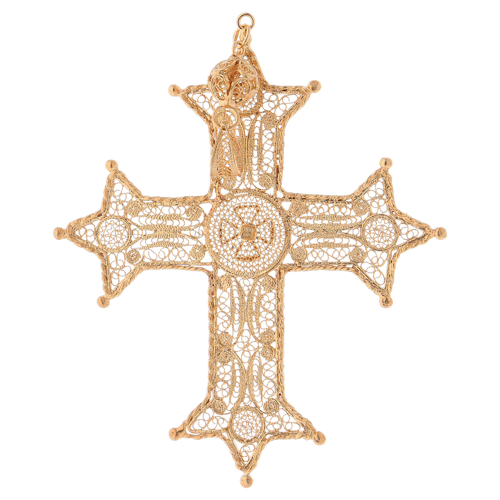 Croix épiscopale filigrane argent dorée 3
