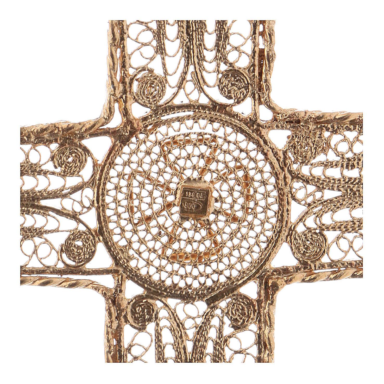 Croce pettorale arg. 800 dorata filigrana con decori 3