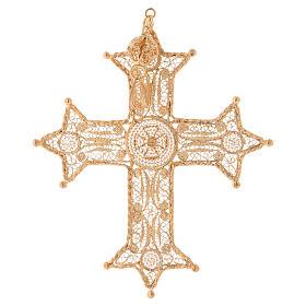 Croce pettorale arg. 800 dorata filigrana con decori s3