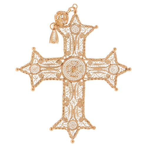 Croce pettorale arg. 800 dorata filigrana con decori 1