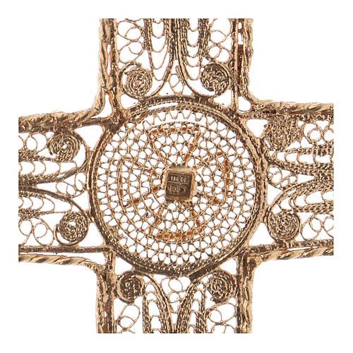 Croce pettorale arg. 800 dorata filigrana con decori 4