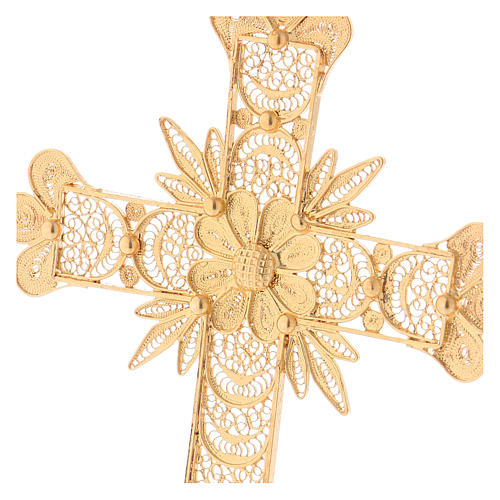 Pectoral Cross in golden silver filigree with rays decoration 2