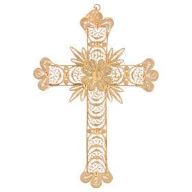 Cruz pectoral de plata 800 dorada en filigrana con rayos s1