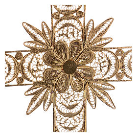 Cruz pectoral de plata 800 dorada en filigrana con rayos s4