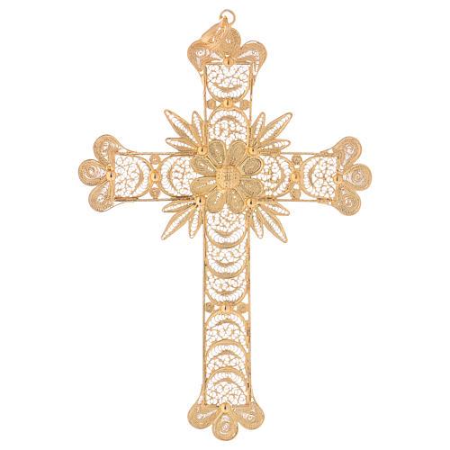 Cruz pectoral de plata 800 dorada en filigrana con rayos 1