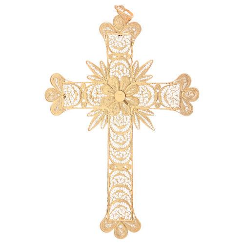 Cruz pectoral de plata 800 dorada en filigrana con rayos 3