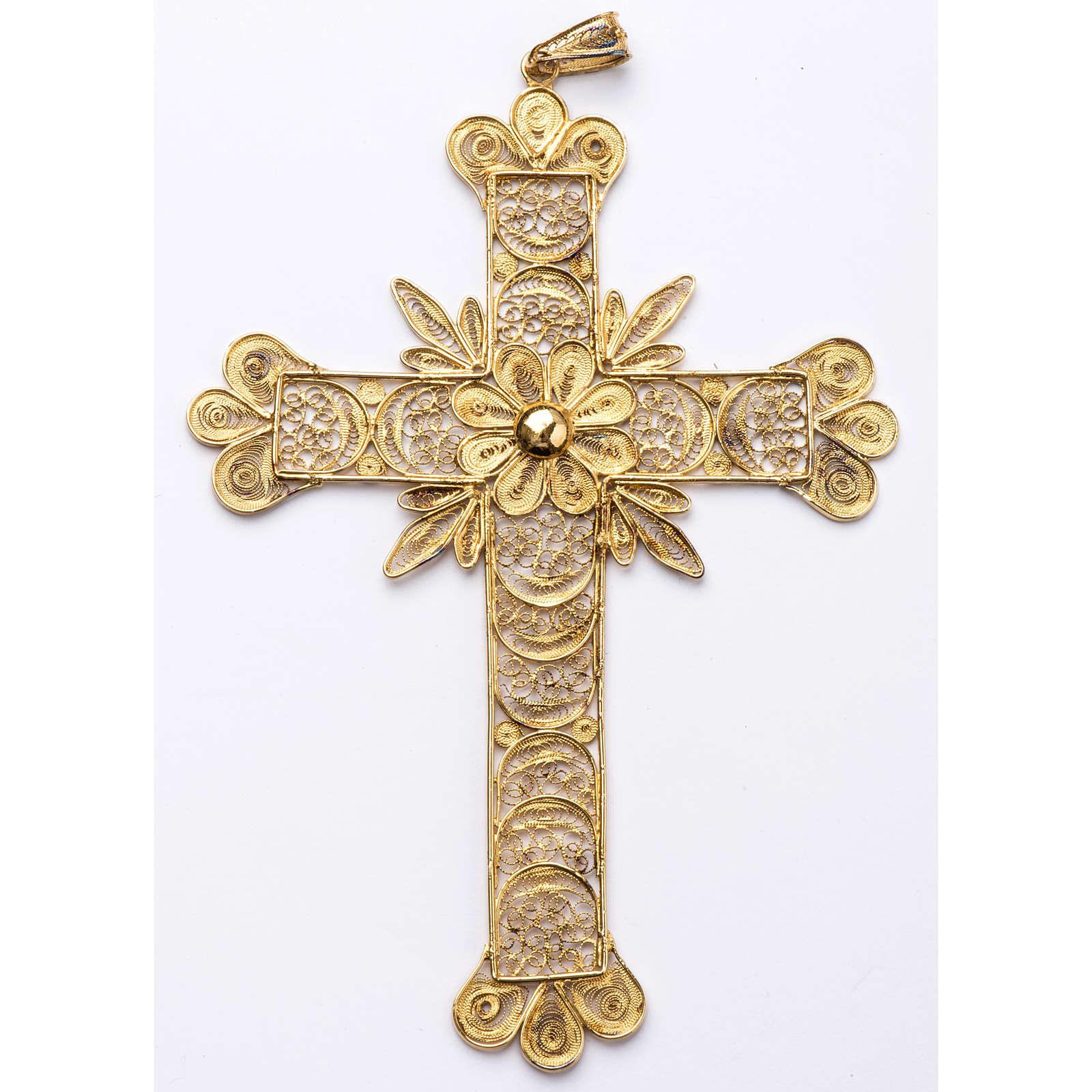 Croce pettorale arg. 800 dorata filigrana con raggi 3