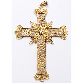 Croce pettorale arg. 800 dorata filigrana con raggi s1