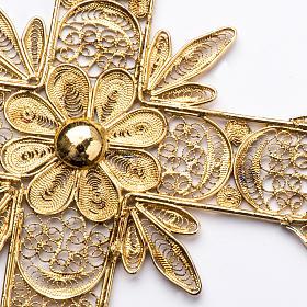 Croce pettorale arg. 800 dorata filigrana con raggi s4