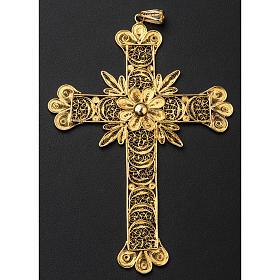 Croce pettorale arg. 800 dorata filigrana con raggi s5