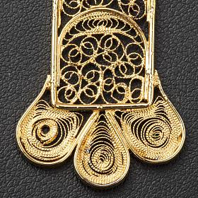 Croce pettorale arg. 800 dorata filigrana con raggi s6