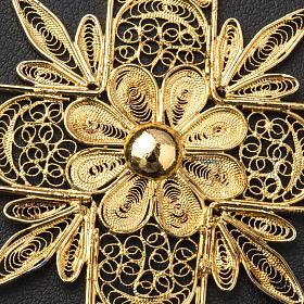 Croce pettorale arg. 800 dorata filigrana con raggi s7