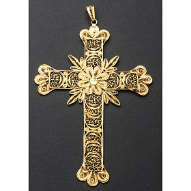 Croce pettorale arg. 800 dorata filigrana con raggi s8