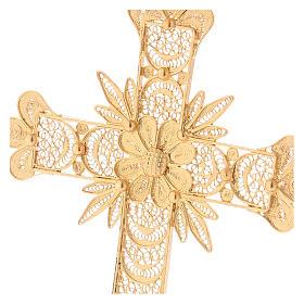 Croce pettorale arg. 800 dorata filigrana con raggi s2