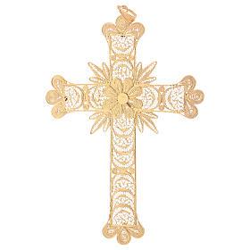 Croce pettorale arg. 800 dorata filigrana con raggi s3