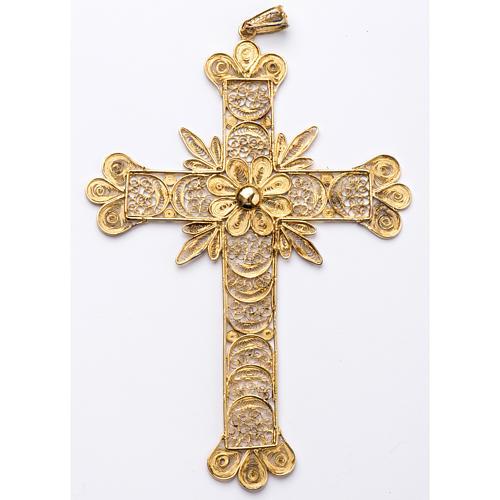 Croce pettorale arg. 800 dorata filigrana con raggi 1